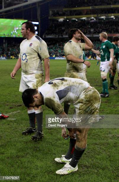 A dejected Danny Care of England and teammates react following their team's defeat during the RBS 6 Nations Championship match between Ireland and...