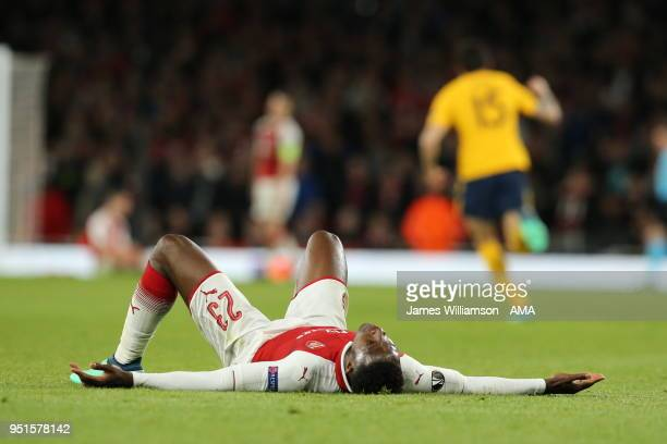 A dejected Danny Welbeck of Arsenal after Antoine Griezmann of Atletico Madrid scores a goal to make it 11 during the UEFA Europa League Semi Final...