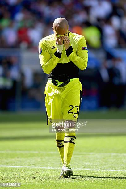 Dejected Darren Randolph of Republic of Ireland shows his emotion after his team's 12 defeat in the UEFA EURO 2016 round of 16 match between France...
