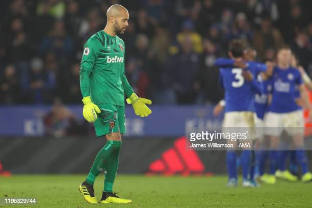 A dejected Darren Randolph of West Ham United after Ayoze Perez of Leicester City scores a goal to make it 41 during the Premier League match between...