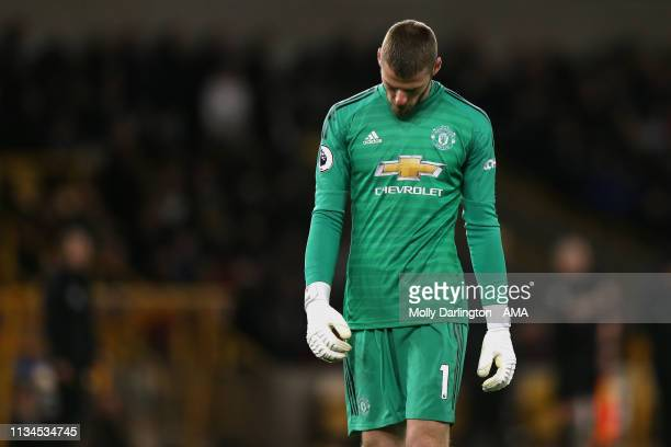 Dejected David de Gea of Manchester United during the Premier League match between Wolverhampton Wanderers and Manchester United at Molineux on April...