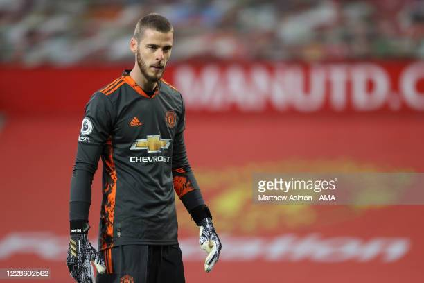 A dejected David De Gea of Manchester United during the Premier League match between Manchester United and Crystal Palace at Old Trafford on...