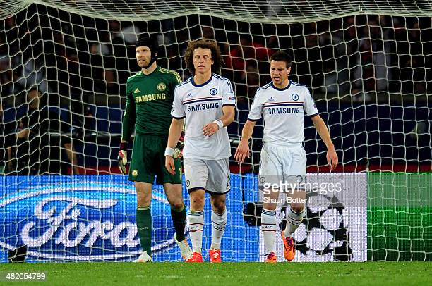 Dejected David Luiz of Chelsea looks on after scoring an own goal to give PSG a 2-1 lead during the UEFA Champions League quarter final, first leg...