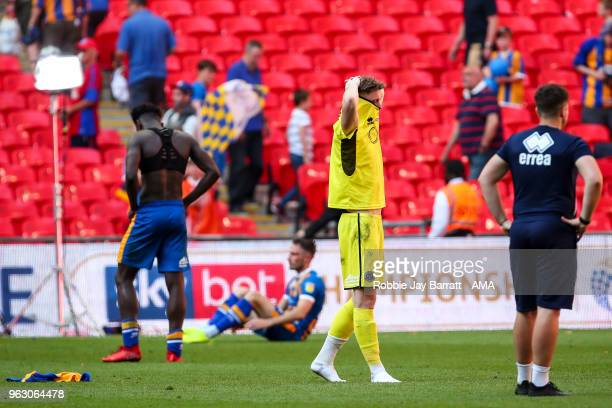A dejected Dean Henderson of Shrewsbury Town at full time during the Sky Bet League One Play Off Final between Rotherham United and Shrewsbury Town...