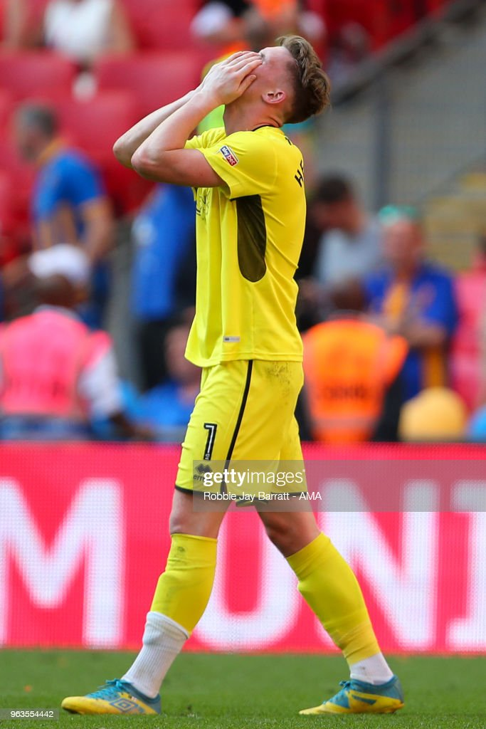 A dejected Dean Henderson of Shrewsbury Town during the Sky Bet League One Play Off Final between Rotherham United and Shrewsbury Town at Wembley Stadium on May 27, 2018 in London, England.