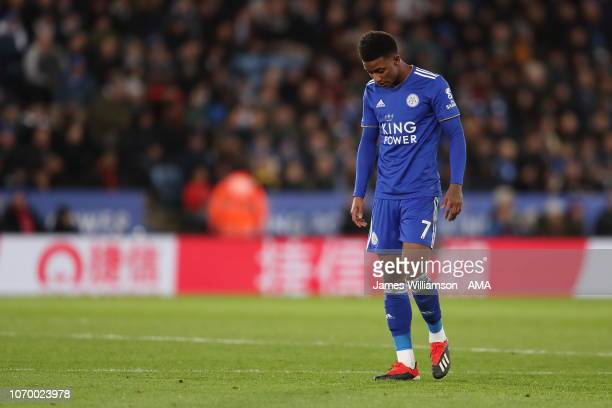 A dejected Demarai Gray of Leicester City after Dele Alli of Tottenham scores a goal to make it 20 during the Premier League match between Leicester...