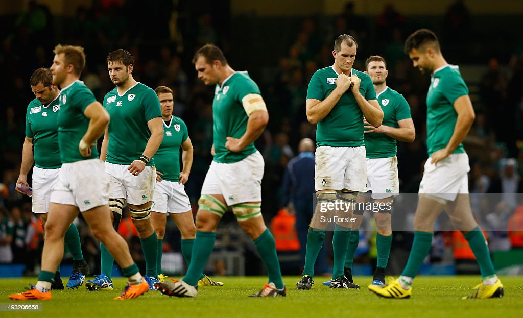 A dejected Devin Toner (3rd r) and Ireland team mates reacts after the 2015 Rugby World Cup Quarter Final match between Ireland and Argentina at Millennium Stadium on October 18, 2015 in Cardiff, United Kingdom.