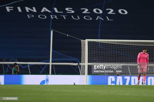 A dejected Ederson of Manchester City reacts after his error for the third goal during the UEFA Champions League Quarter Final match between...
