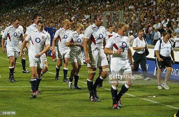 A dejected England after lossing by a point to France during the Rugby Union International match on August 30 between France and England at Stade...