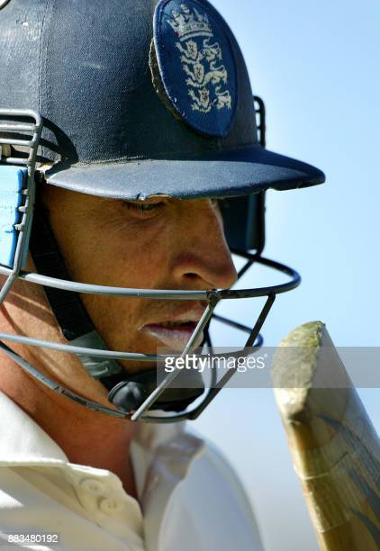 Dejected England captain Nasser Hussain, leaves the ground after losing his wicket for 61 runs on day three of the third Ashes Test at the WACA...