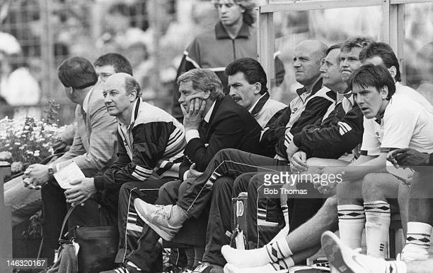 A dejected England team bench during the UEFA European Championships 1988 Group 2 match between England and Netherlands held at the Rheinstadion on...