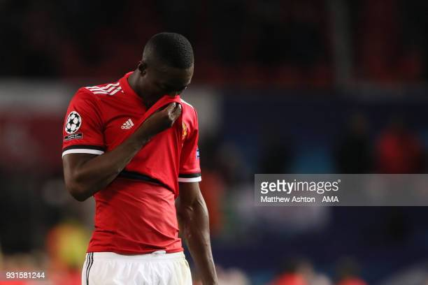 A dejected Eric Bailly of Manchester United during the UEFA Champions League Round of 16 Second Leg match between Manchester United and Sevilla FC at...