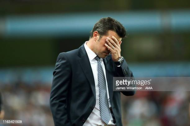 A dejected Everton manager / head coach Marco Silva during the Premier League match between Aston Villa and Everton FC at Villa Park on August 23...