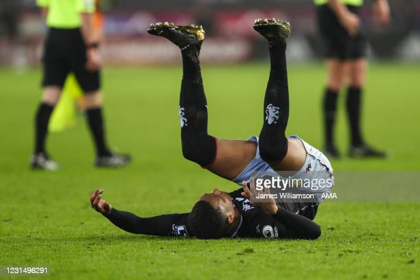 Dejected Ezri Konsa of Aston Villa reacts at full time during the Premier League match between Sheffield United and Aston Villa at Bramall Lane on...