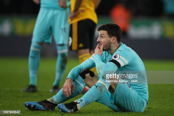 A dejected Fabian Schar of Newcastle United during the Premier League match between Wolverhampton Wanderers and Newcastle United at Molineux on...