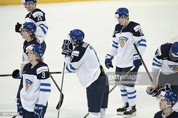 Dejected Finns Miro Keskitalo Roope Hintz Mikko Rantanen Niko Mikkola Kasperi Kapanen and Jesse Puljujärvi are pictured after the 2016 IIHF World...