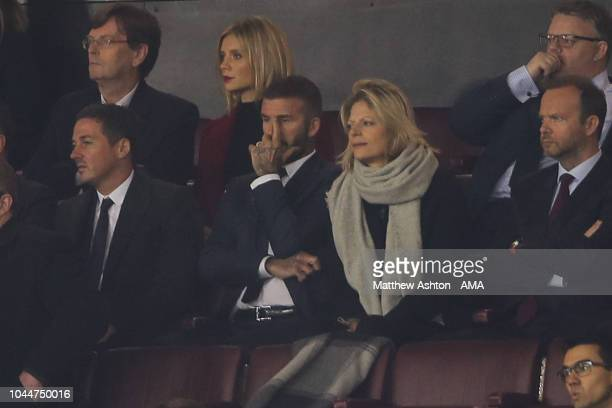 A dejected former Manchester United and Inter Miami FC owner David Beckham looks on from the stands at full time during the Group H match of the UEFA...