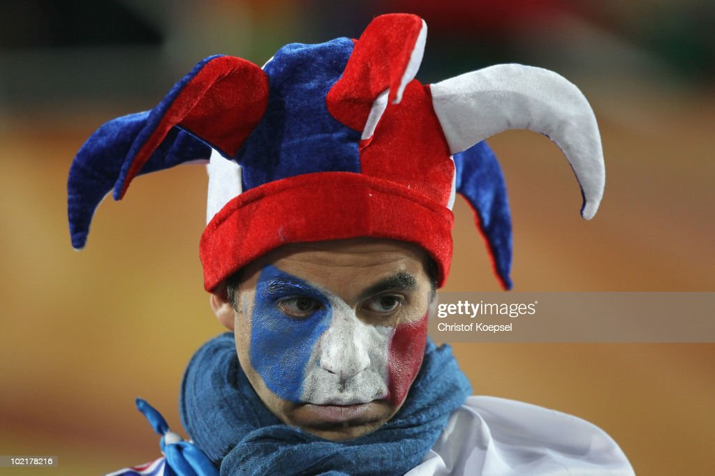 A dejected France fan after defeat in the 2010 FIFA World Cup South Africa Group A match between France and Mexico at the Peter Mokaba Stadium on June 17, 2010 in Polokwane, South Africa.