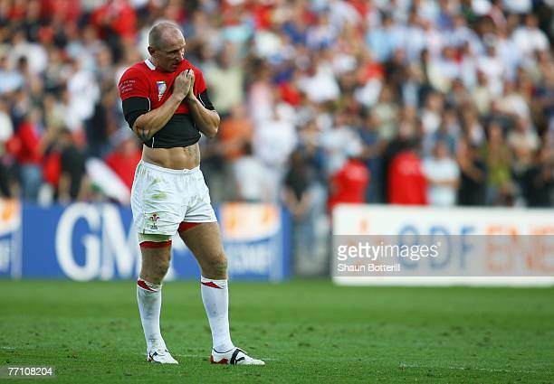 A dejected Gareth Thomas looks on following his team's 3834 defeat during the Rugby World Cup 2007 Pool B match between Wales and Fiji at the Stade...
