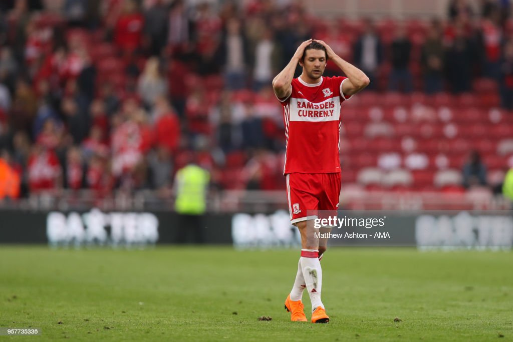 A dejected George Friend of Middlesbrough during the Sky Bet Championship Play Off Semi Final First Leg match between Middlesbrough and Aston Villa at Riverside Stadium on May 12, 2018 in Middlesbrough, England.