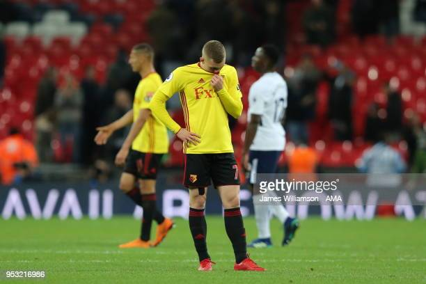 A dejected Gerard Deulofeu of Watford at full time during the Premier League match between Tottenham Hotspur and Watford at Wembley Stadium on April...