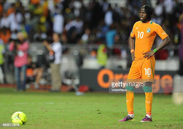 A dejected Gervinho of Ivory Coast after his penalty miss during the 2012 African Cup of Nations Final between Zambia and Ivory Coast at the Stade de...