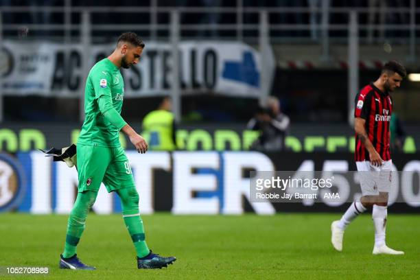 A dejected Gianluigi Donnarumma of AC Milan walks off at full time during the Serie A match between FC Internazionale and AC Milan at Stadio Giuseppe...