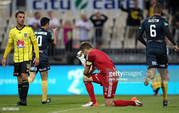 A dejected Glenn Moss of the Wellington Phoenix after Luis Garcia of the Central Coast Mariners scored a goal during the round 17 ALeague match...
