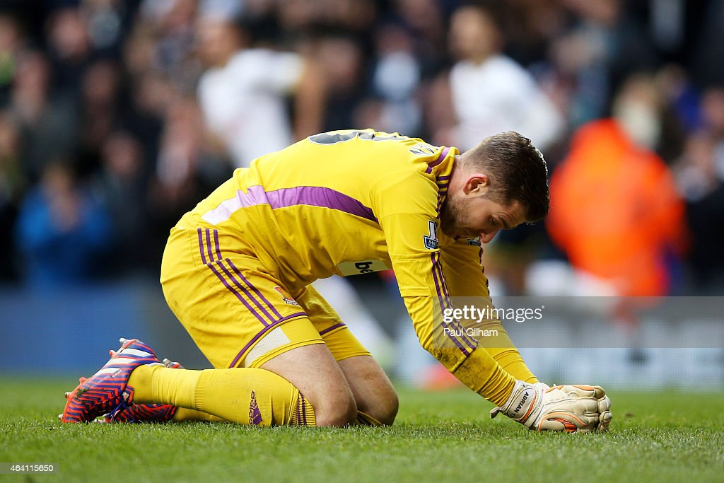 Dejected goalkeeper Adrian of West Ham reacts after conceding a late goal during the Barclays Premier League match between Tottenham Hotspur and West Ham United at White Hart Lane on February 22, 2015 in London, England.
