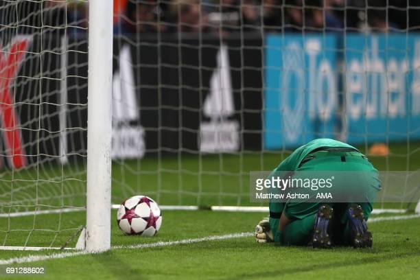 A dejected goalkeeper Katarzyna Kiedrzynek of PSG after the penalty shoot out in the UEFA Women's Champions League Final between Lyon and Paris Saint...