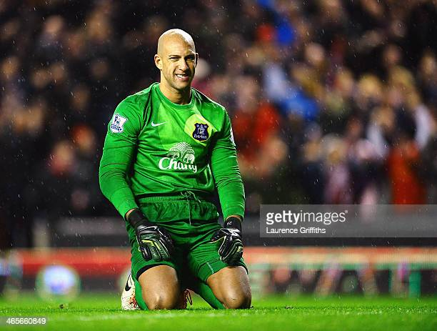 Dejected goalkeeper Tim Howard of Everton looks on during the Barclays Premier League match between Liverpool and Everton at Anfield on January 28...