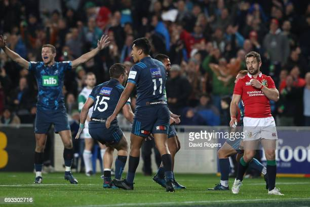 A dejected Greig Laidlaw of the British Irish Lions looks on as the Blues celebrate their 2216 victory during the 2017 British Irish Lions tour match...