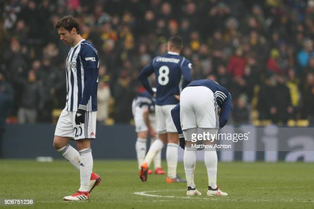 A dejected Grzegorz Krychowiak of West Bromwich Albion after Watford scored the winning goal during in the Premier League match between Watford and...