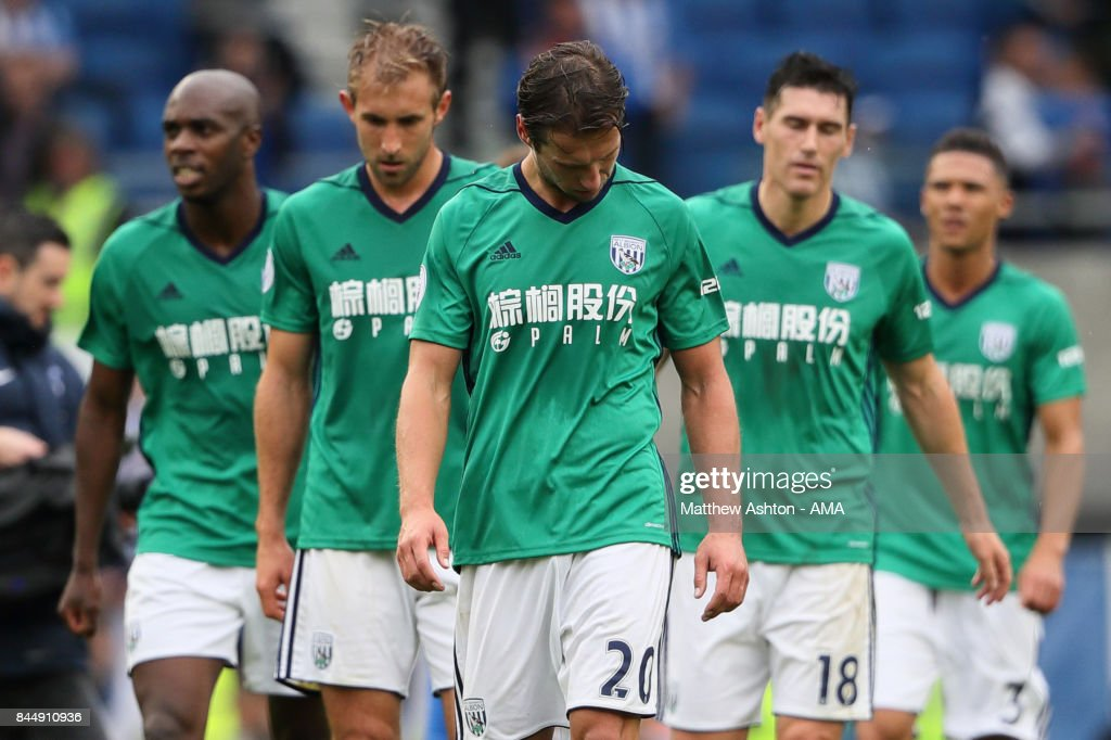 A dejected Grzegorz Krychowiak with his West Bromwich Albion team mates after the 3-1 defeat during the Premier League match between Brighton and Hove Albion and West Bromwich Albion at Amex Stadium on September 9, 2017 in Brighton, England.