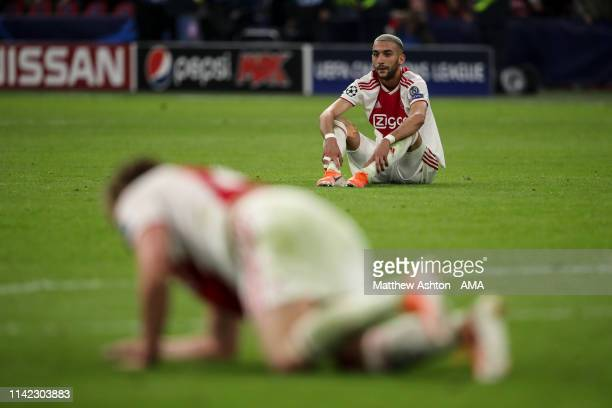 A dejected Hakim Ziyech of Ajax Amsterdam at full time during the UEFA Champions League Semi Final second leg match between Ajax and Tottenham...