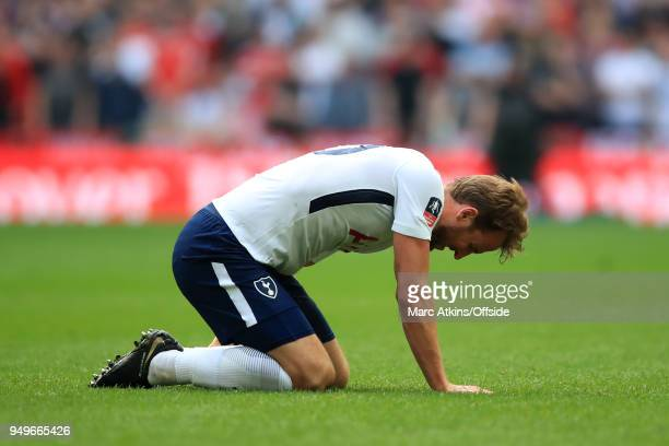 A dejected Harry Kane of Tottenham Hotspur during The Emirates FA Cup Semi Final at Wembley Stadium between Manchester United and Tottenham Hotspur...
