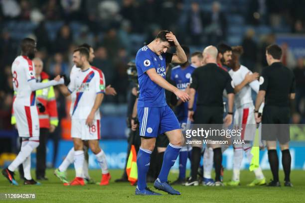 A dejected Harry Maguire of Leicester City at full time of the Premier League match between Leicester City and Crystal Palace at The King Power...