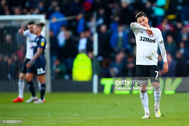 A dejected Harry Wilson of Derby County reacts at full time during the Sky Bet Championship Playoff Semi Final First Leg match between Derby County...