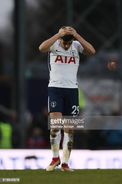 A dejected Harry Winks of Tottenham Hotspur after Rochdale scored the opening goal during The Emirates FA Cup Fifth Round match between Rochdale and...