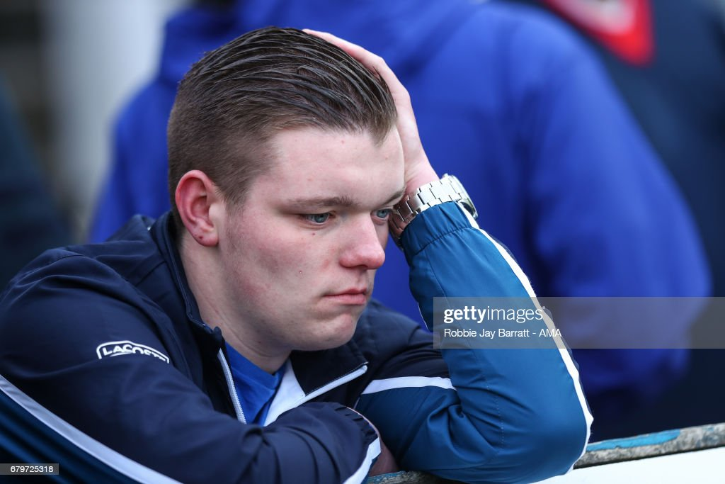 Dejected Hartlepool Untied fans during the Sky Bet League Two match between Hartlepool United and Doncaster Rovers at Victoria Park on May 6, 2017 in Hartlepool, England.