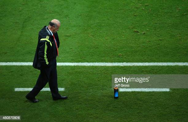 A dejected head coach Vicente del Bosque of Spain looks on during the 2014 FIFA World Cup Brazil Group B match between Spain and Netherlands at Arena...