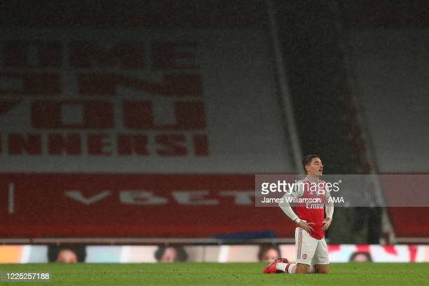 A dejected Hector Bellerín of Arsenal at full time during the Premier League match between Arsenal FC and Leicester City at Emirates Stadium on July...