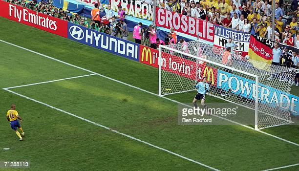 Dejected Henrik Larsson of Sweden misses a second half penalty during the FIFA World Cup Germany 2006 Round of 16 match between Germany and Sweden at...