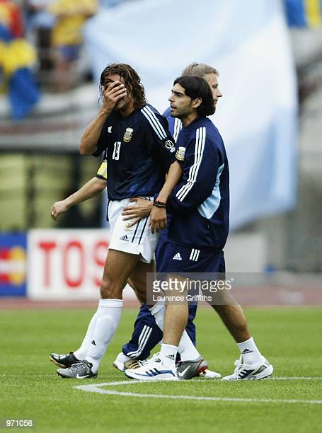 A dejected Hernan Crespo of Argentina after the Argentina v Sweden Group F World Cup Group Stage match played at the Miyagi Stadium Miyagi Japan on...