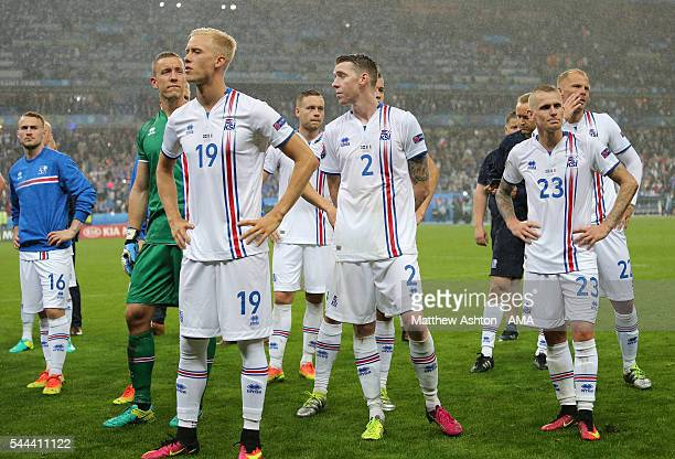 Dejected Iceland players at full time after the UEFA Euro 2016 quarter final match between France and Iceland at Stade de France on July 3 2016 in...