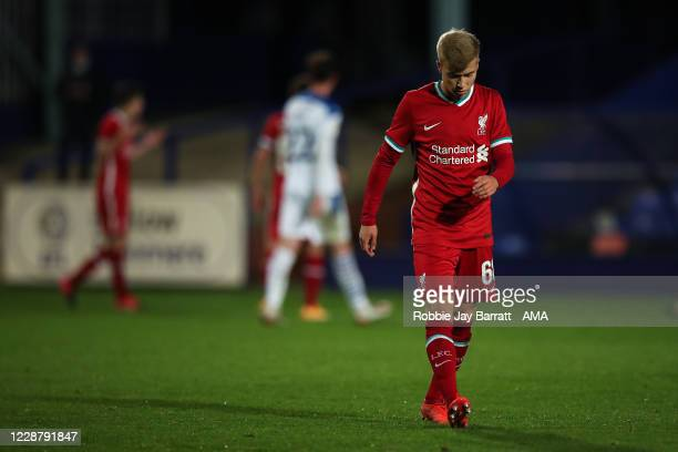 Dejected Jack Bearne of Liverpool U21 during the EFL Trophy Northern Group D fixture between Tranmere Rovers and Liverpool U21 at Prenton Park on...