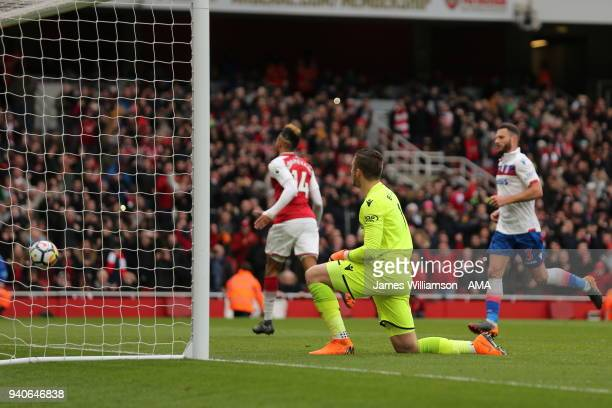 A dejected Jack Butland of Stoke City after PierreEmerick Aubameyang of Arsenal scores a goal to make it 10 during the Premier League match between...