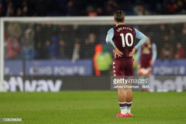 A dejected Jack Grealish of Aston Villa after Harvey Barnes of Leicester City scored a goal to make it 10 during the Premier League match between...