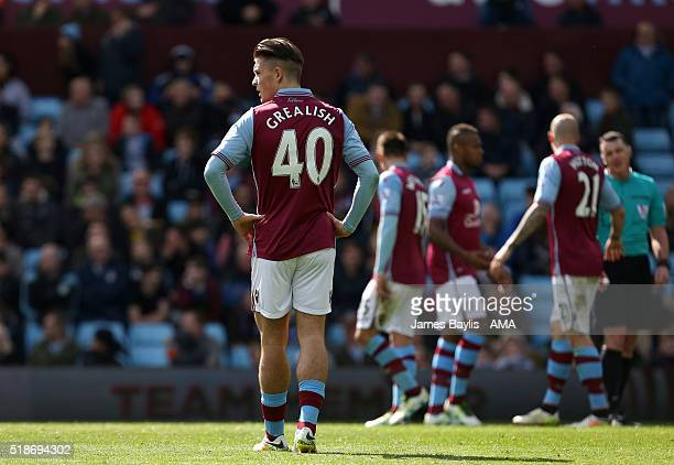 A dejected Jack Grealish of Aston Villa during the Barclays Premier League match between Aston Villa and Chelsea at Villa Park on April 2 2016 in...