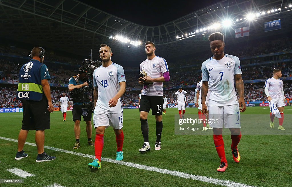 Dejected Jack Wilshire (3rd L), Fraser Forster (4th R) and Raheem Sterling (2nd R) of England leave the pitch after the UEFA EURO 2016 round of 16 match between England and Iceland at Allianz Riviera Stadium on June 27, 2016 in Nice, France.